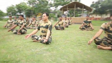 International Day of Yoga 2019: BSF Jawans Perform Yoga on Bank of River Brahmaputra in Assam