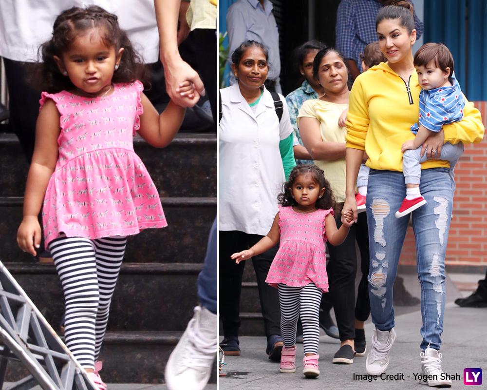 Sunny Leone with kids Nisha, Noah and Asher