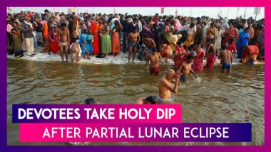Uttar Pradesh: Devotees Take Holy Dip in River Ganga After Partial Lunar Eclipse