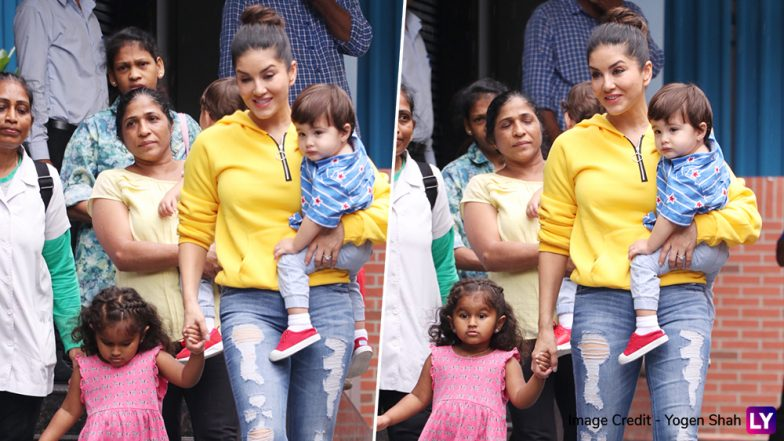 Sunny Leone Spotted With Her Kids in Juhu, While Fans Call Her Son Taimur Look-Alike, We Are Loving Her Daughter Nisha Kaur Weber's Many Moods in These Pictures!