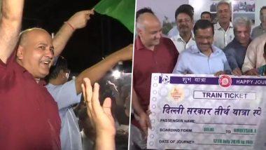 Delhi CM Arvind Kejriwal Flags Off First Train Under Mukhyamantri Tirth Yatra Scheme