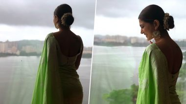 Bepannaah Actress Jennifer Winget Stuns in a Green Saree at Her Friend's Wedding (View Pics)
