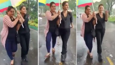 Jennifer Winget Enjoys the Rain While Shooting for Alt Balaji's Code M (Watch Video)