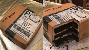 Husband Gets an Amazon Shopping Box Shaped Cake For His Shopoholic Wife, Pics Go Viral