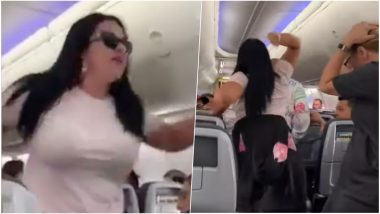 Angry Girlfriend Smashes Laptop on Boyfriend's Head For Looking at Other Women in Flight, Watch Shocking Viral Video