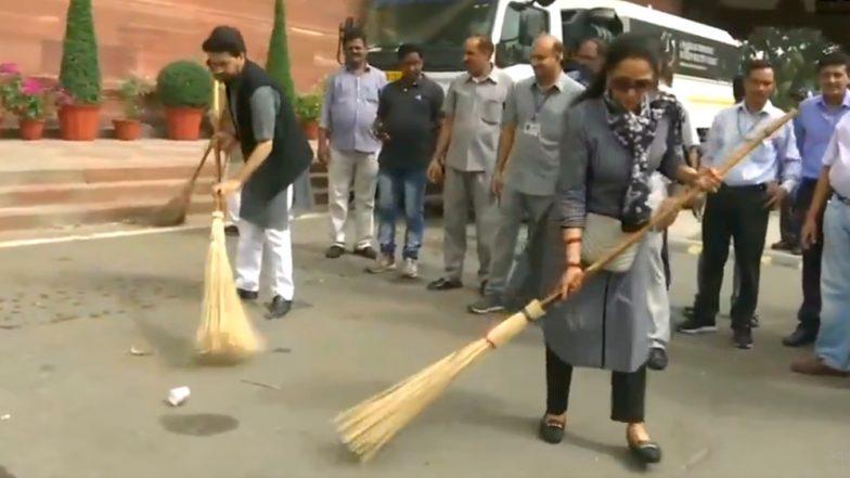 Hema Malini, Anurag Thakur Sweep Parliament Premises As Part of Swachh Bharat Abhiyan; Watch Video