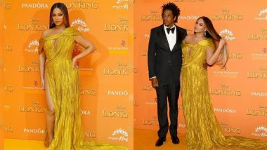 Beyonce In A Hip-High Slit Golden Gown At The Lion King European Premiere Makes Us And The Bey-Hive Go Bonkers! View Pics