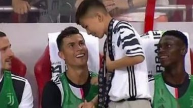 Cristiano Ronaldo's Fan Detained by Police After he Invaded the Pitch for a Selfie With Football Star During Juventus vs Tottenham Hotspur Match (Watch Video)