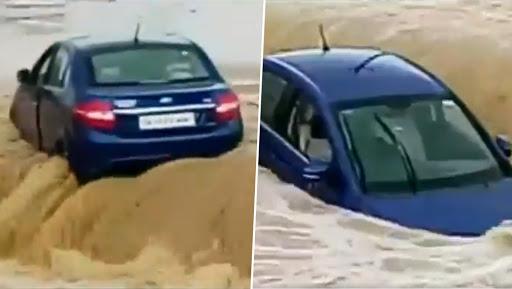 Chhattisgarh Monsoon Effect: Car Washed Away in Flood Water in Ambikapur, Watch Video