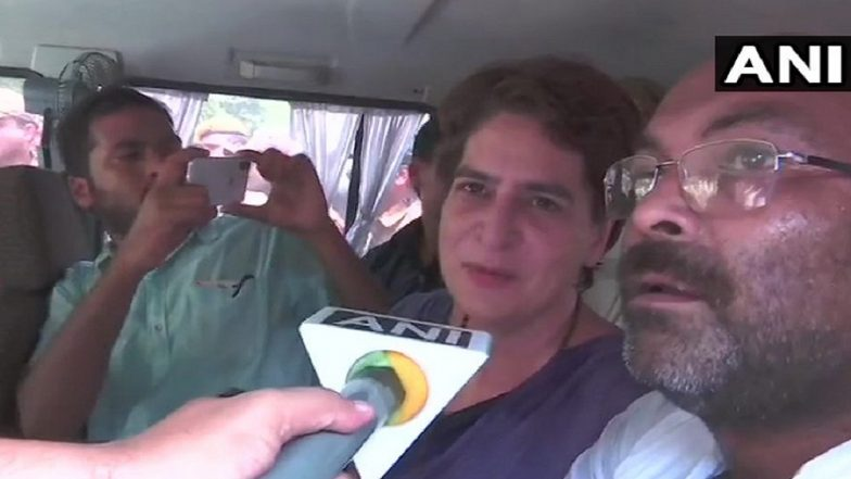 Priyanka Gandhi Detained On Her Way to Meet Victims of Sonbhadra Firing Incident, Says 'Don't Know Where They Are Taking Me'; Watch Video