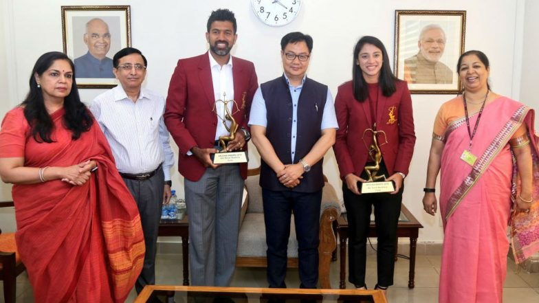Sports Minister Kiren Rijiju Confers Arjuna Awards to Tennis Player Rohan Bopanna and Women Cricketer Smriti Mandhana