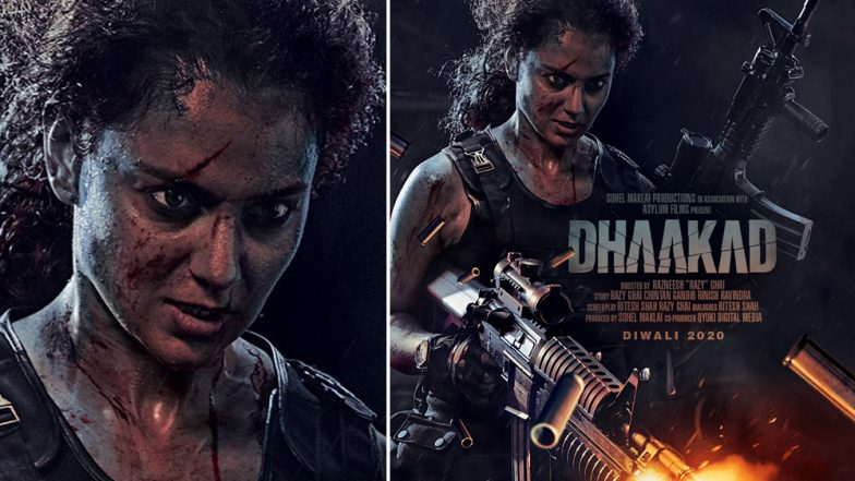 Dhaakad New Poster: Kangana Ranaut's Badass Look With a Scarred Face and Blazing Guns Will Leave You Impressed!