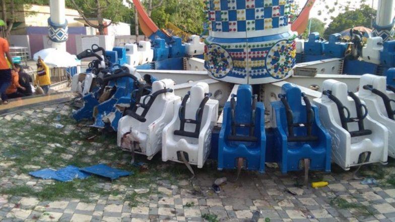 Kankaria Adventure Park Ride Accident: Video Captures Horrific 'Discovery Joyride' Collapse in Ahmedabad's Balvatika Amusement Park; 2 Dead, 29 Injured