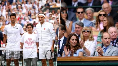 Roger Federer Gets Rousing Welcome by Wimbledon Crowd Including Prince Williams and Kate Middleton As Novak Djokovic and Swiss Great Take Court For Final, Watch Video