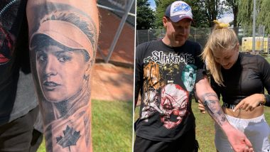 Eugenie Bouchard Meets Die-Hard Fan Who Got The Canadian Tennis Player's Face Tattooed on His Forearm! Watch Video