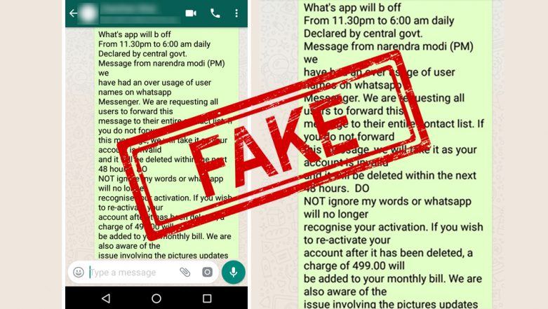WhatsApp Usage to be Time-Restricted by Modi Government? Charge of Rs 499 Per Month to be Levied? Here's a Fact Check