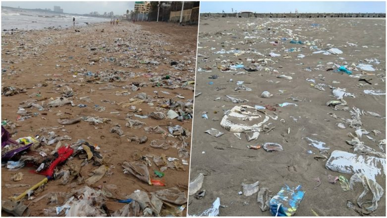 Mumbai's Juhu Beach Spews Out Plastic Waste On the Shore! Netizens Concerned (Read Tweets)