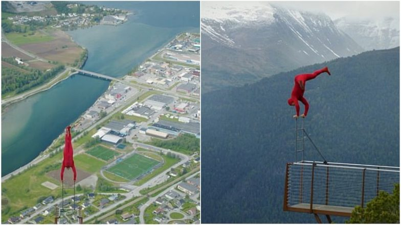 Highest Handstand! Norway Gymnast Performs Death-Defying Stunt at 1300 Ft on Rampestreken Viewpoint to Mark His 40th Birthday, Watch Video