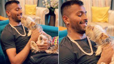 Golden Boy! Hardik Pandya Shares Adorable Photo With Pet Dog on Instagram, Netizens Go Aww (See Pic)