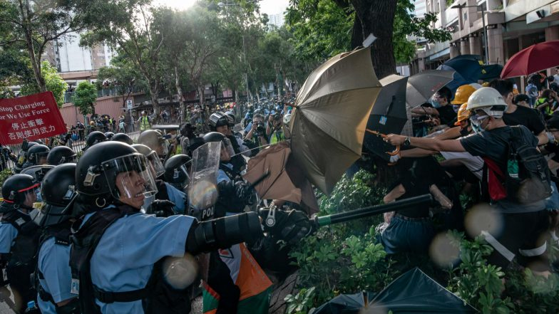 Hong Kong Protesters Clash With Police After Anti-Extradition March Ends