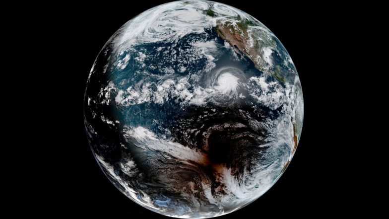 Total Solar Eclipse and Hurricane in Pacific Ocean Captured in a Satellite Image is Beautiful Reminder of the Wonders of This Planet (Watch Video)
