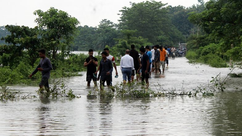 Assam Floods: Brahmaputra River Flows Above Danger Mark, Roads Washed Away, School Building Collapses Due to Heavy Rains; Watch Video