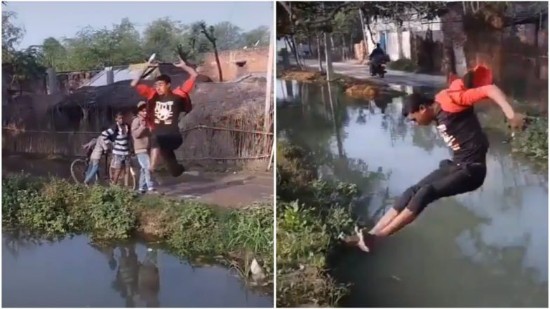This Boy Should Participate in Olympics for India, Says Netizens As Video of His Long Jump Across River Goes Viral!