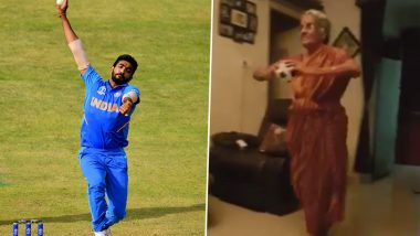 Old Lady Emulating Jasprit Bumrah's Uncanny Bowling Action During CWC 2019 Is Ruling the Internet (Watch Video)