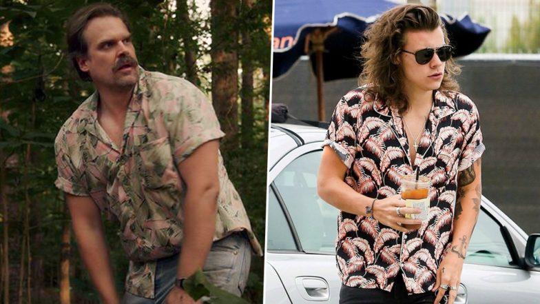 76c834159 Stranger Things 3's Officer Hopper Rocks a Hawaiian Shirt À La Harry Styles  and Twitter Wants