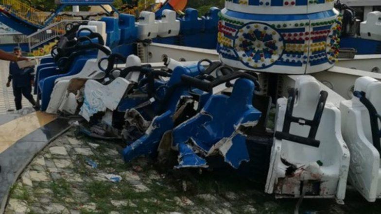 """Gujarat: 3 morts et plus de 15 blessés lors de la descente du parc aventure de Kankaria à Ahmedabad """"title ="""" Gujarat: 3 morts et plus de 15 blessés lors de la descente du parc aventure de Kankaria à Ahmedabad """"/> <p> Kankaria Adventure Park Rupture (crédit photo: Twitter / @ parthshastriTOI) </p>                                     </div>                                     <p><strong> Ahmedabad, 14 juillet: </strong> Dans un incident choquant, trois personnes sont mortes et plus de 15 autres blessées après une promenade dans un parc aventure à Kankaria, dans l'État de Gujarat, est tombé en panne dimanche Le 14 juillet, certaines personnes ont été grièvement blessées et ont été transportées à l'hôpital LG. Le trajet s'est écrasé avec 31 personnes à bord du Kankaria Adventure Park à Maninagar.</p><p> Les images du lieu de l'incident ont été partagées par les internautes sur Twitter. Réagissant à cet incident, le Dr Rutvij Patel, président du Gujarat Bharatiya Janta Yuva Morcha (BJYM), a déclaré: """"Profondément navré de savoir ce qui s'est passé dans le parc d'attractions Balvatika, Kankaria, à Ahmedabad. Mes prières avec les familles des blessés."""" <strong><a href="""
