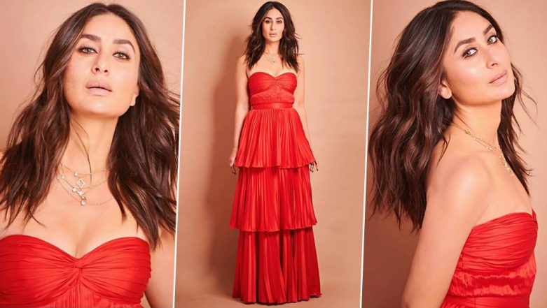 Kareena Kapoor Khan Looks Red Hot in Strapless Tiered Maxi Dress (View Pics)