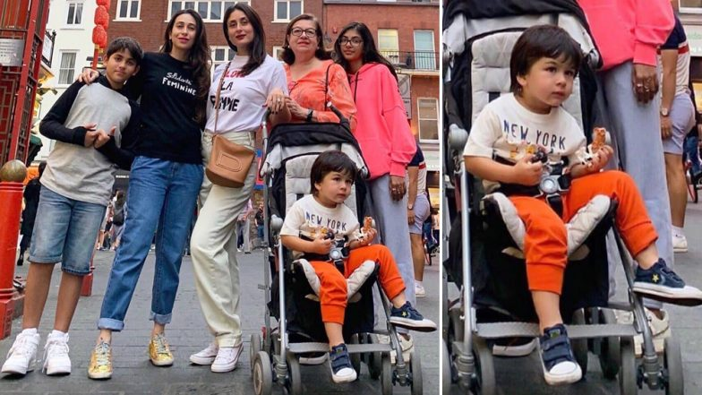 Kareena Kapoor Khan and Karisma Kapoor Continue To Make Stylish Appearances in London But It is Taimur Who Has All Our Attention! (View Pics)
