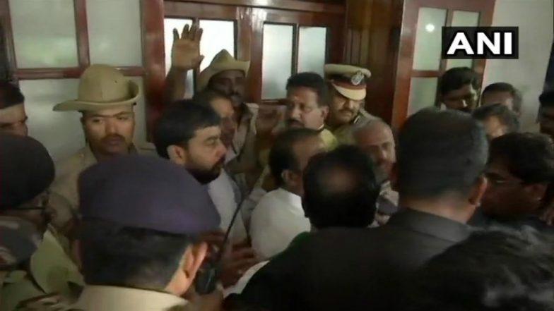 Karnataka Political Chaos: BJP Demonstrates Outside Vidhana Soudha, Demands Kumaraswamy's Resignation