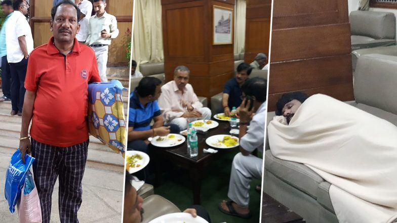 Karnataka Political Drama: Photo of BJP MLA Prabhu Chavan Carrying Pillow and Blanket to Assembly Goes Viral, Legislators Clicked Having Dinner On 'Overnight' Dharna; See Pics