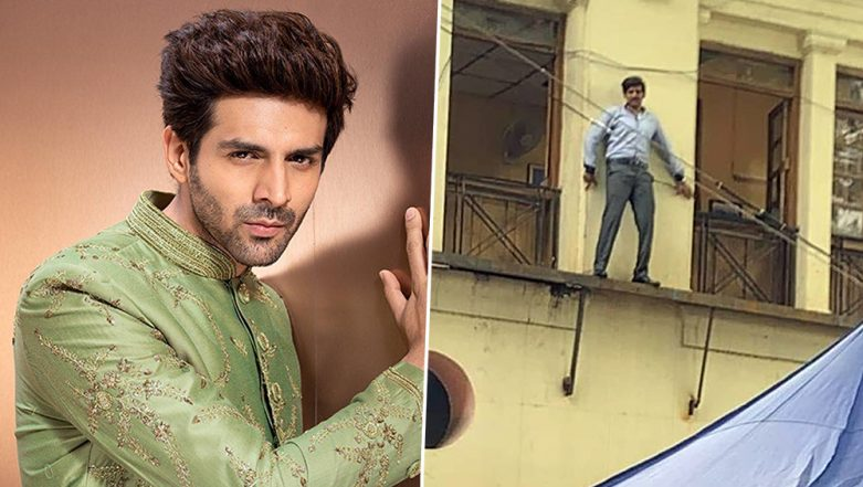 Pati Patni Aur Woh: Kartik Aaryan's Leaked Image from the Sets Shows Him in the Chintu Tyagi Avatar, Sneaking Out of a Window - See Pic!