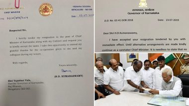 HD Kumaraswamy Submits Resignation to Karnataka Governor, Vajubhai Vala Accepts it With Immediate Effect