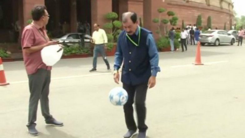TMC MP and & Former Indian Football Team Captain Prasun Banerjee Plays Football in Parliament, Appeals PM Narendra Modi to Promote the Game