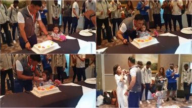 MS Dhoni Has Daughter Ziva By His Side While Cutting Birthday Cake in This Adorable Video! Watch Sakshi and Team India Players Celebrate MSD's B-Day