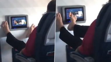 Passenger Uses His Bare Feet to Operate In-flight Entertainment Screen, Viral Video Disgusts Twitterati
