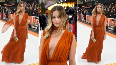 Margot Robbie Looks Heavenly In A Stunning Orange Chiffon Oscar de la Renta Gown At The Premiere of Once Upon A Time In Hollywood