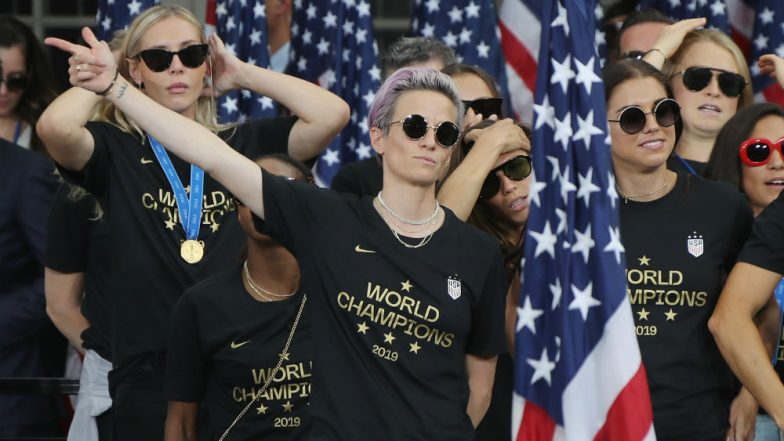 Megan Rapinoe Dances to 'All I Do Is Win' as US Women's Football Team Participates in Victory Parade at City Hall Ceremony
