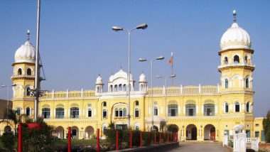 Guru Nanak Dev 550th Birth Anniversary Celebrations: Nankana Sahib Gurudwara Illuminated Ahead of Gurpurab (Watch Video)