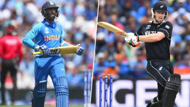 James Neesham Catch Video: Kiwi All-Rounder Takes a One-Hand Stunner to Dismiss Dinesh Karthik During IND vs NZ ICC CWC 2019 Semi Final Match