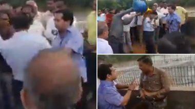 Maharashtra MLA Nitesh Rane Takes Cue From Vijayavargiya Jr, Attacks Govt Engineer With Mud on Bridge Near Mumbai-Goa Highway; Watch Video