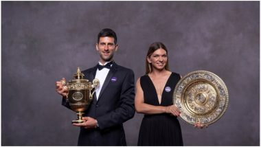 Wimbledon 2019 Champions' Dinner: Novak Djokovic, Simona Halep Pose With Gentlemen's Singles Trophy and Venus Rosewater Dish