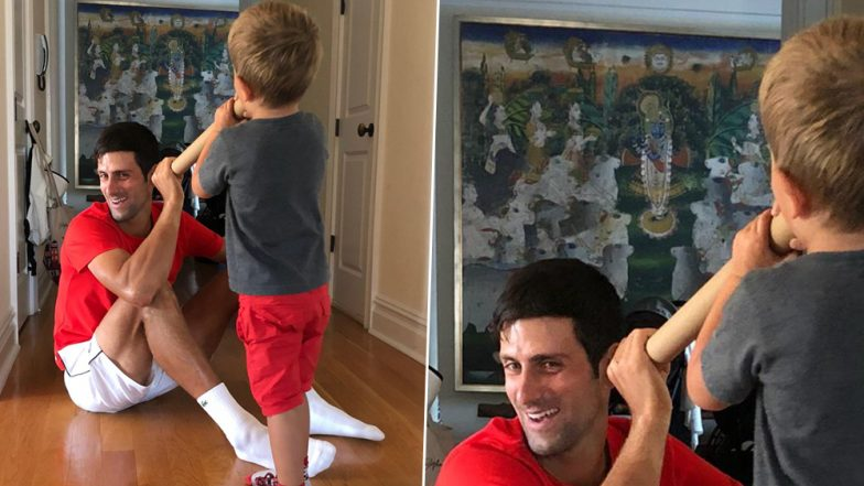 Is Novak Djokovic a Devotee of Lord Krishna? This Viral Pic of Tennis Star Playing With His Kids is A Proof