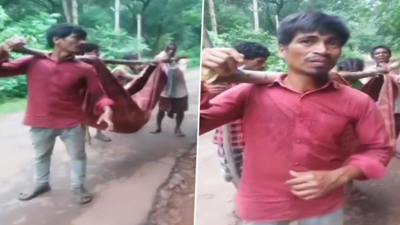 Medical Apathy in Odisha: Relatives Carry Body of a Man in Sling Made of Clothes After Hospital Refuses Van