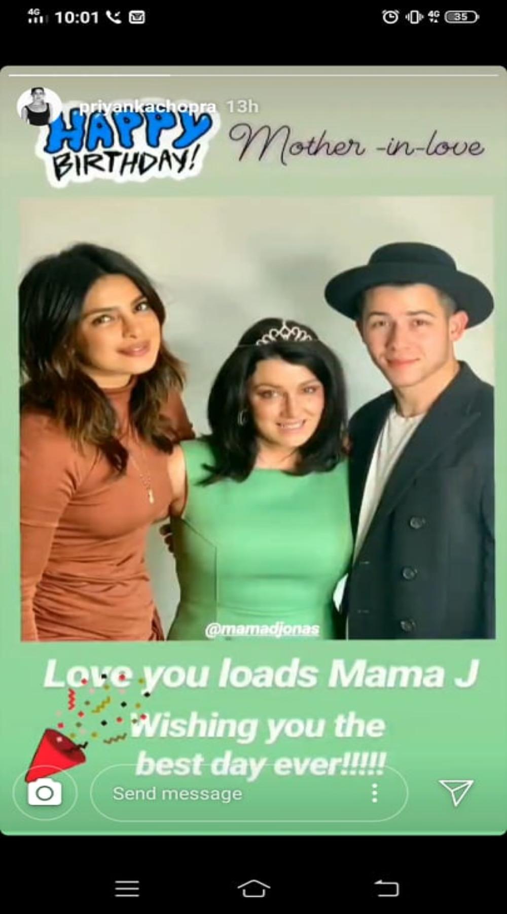 Priyanka Chopra wishes Denise Jonas.