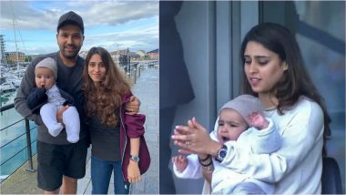 Rohit Sharma Shares Pic of Wife Ritika Sajdeh Praying With 'Crossed Fingers' With Daughter Samaira During IND vs SL Match With a Special Caption, See Pic