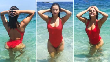 Selena Gomez Is a Dead Ringer for Baywatch's Yasmine Bleeth in Her Red Fourth of July Swimsuit (View Pics)